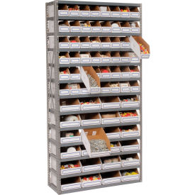 Steel Open Shelving with 72 Corrugated Shelf Bins 13 Shelves  - 36x12x73