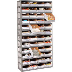 Steel Open Shelving with 48 Corrugated Shelf Bins 13 Shelves - 36x12x73
