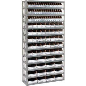 Steel Open Shelving with 104 Corrugated Shelf Bins 13 Shelves - 36x12x73