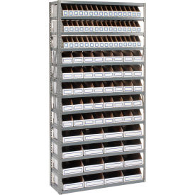 Steel Open Shelving with 104 Corrugated Shelf Bins 13 Shelves - 36x18x73