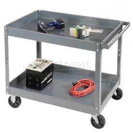 Edsal SC2024 2 Shelf Deep Tray Steel Stock Cart 36x24 500 Lb. Capacity