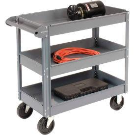 Edsal SC5003 3 Shelf Deep Tray Steel Stock Cart 30x16 800 Lb. Capacity