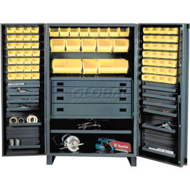 Durham Heavy Duty Work Bin Cabinet JCBDLP724RDR- Flush Doors - 4 Drawers 72 Yellow Bins 48 x 24 x 78