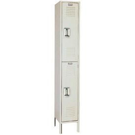 Lyon Locker Double Tier 12x18x36 2 Door Assembled Putty , Recessed Handle