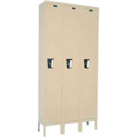 Hallowell UY3258-1 Maintenance-Free Quiet Locker Single 12x15x72 3 Door Ready To Assemble Parchment