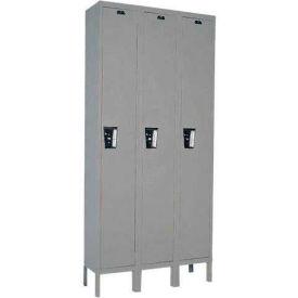 Hallowell UY3588-1 Maintenance-Free Quiet Locker Single Tier 15x18x72 3 Door Ready To Assemble Gray