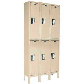 Hallowell UY3888-2PT Locker Double Tier 18x18x36 6 Door Ready To Assemble Parchment