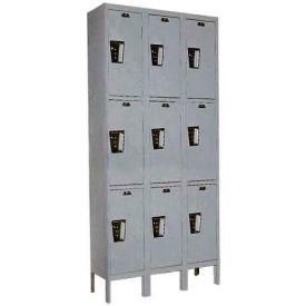 Hallowell UY3228-3 Maintenance-Free Quiet Locker Triple Tier 12x12x24 9 Door Ready To Assemble Gray