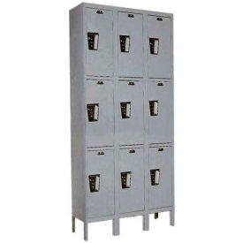 Hallowell UY3288-3 Maintenance-Free Quiet Locker Triple Tier 12x18x24 9 Door Ready To Assemble Gray