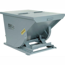 Wright 15099 1-1/2 Cu Yd Gray HD Self Dumping Forklift Hopper, Heavy Gauge Base