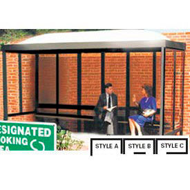 Smoking Shelter Dome Roof Three Sided With Open Front 15' x 5'