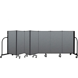 "Screenflex Portable Room Divider 7 Panel, 4'H x 13'1""L, Fabric Color: Gray"