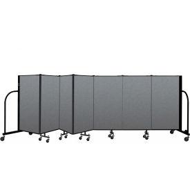 "Screenflex Portable Room Divider 7 Panel, 4'H x 13'1""L, Fabric Color: Gray"