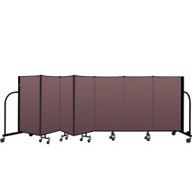"Screenflex Portable Room Divider 7 Panel, 4'H x 13'1""L, Fabric Color: Mauve"
