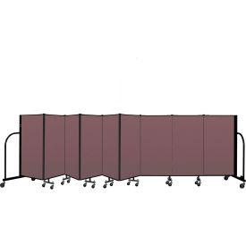 """Screenflex Portable Room Divider 9 Panel, 4'H x 16'9""""L, Fabric Color: Mauve"""