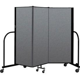 "Screenflex Portable Room Divider 3 Panel, 5'H x 5'9""L, Fabric Color: Gray"