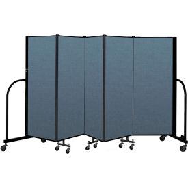 "Screenflex Portable Room Divider 5 Panel, 5'H x 9'5""L, Fabric Color: Blue"