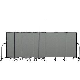 "Screenflex Portable Room Divider 9 Panel, 5'H x 16'9""L, Fabric Color: Gray"