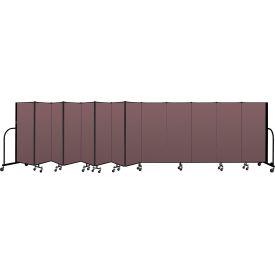 """Screenflex Portable Room Divider 13 Panel, 5'H x 24'1""""L, Fabric Color: Mauve"""