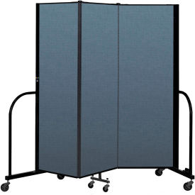 "Screenflex Portable Room Divider 3 Panel, 6'H x 5'9""L, Fabric Color: Blue"