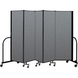 "Screenflex Portable Room Divider 5 Panel, 6'H x 9'5""L, Fabric Color: Gray"