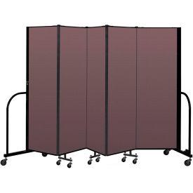 """Screenflex Portable Room Divider 5 Panel, 6'H x 9'5""""L, Fabric Color: Mauve"""