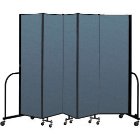 "Screenflex Portable Room Divider 5 Panel, 6'8""H x 9'5""L, Fabric Color: Blue"