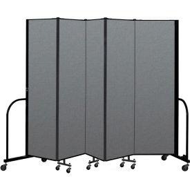 "Screenflex Portable Room Divider 5 Panel, 6'8""H x 9'5""L, Fabric Color: Gray"