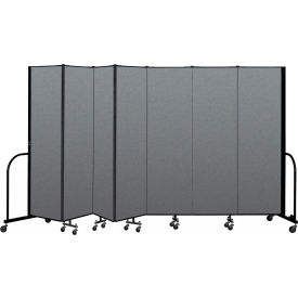 "Screenflex Portable Room Divider 7 Panel, 6'8""H x 13'1""L, Fabric Color: Gray"
