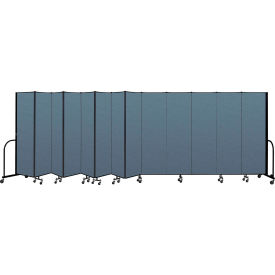"Screenflex Portable Room Divider 13 Panel, 6'8""H x 24'1""L, Fabric Color: Blue"