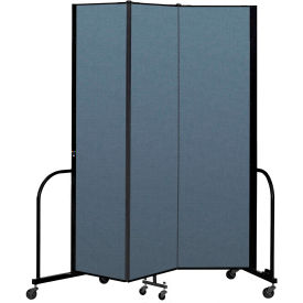 "Screenflex Portable Room Divider 3 Panel, 7'4""H x 5'9""L, Fabric Color: Blue"