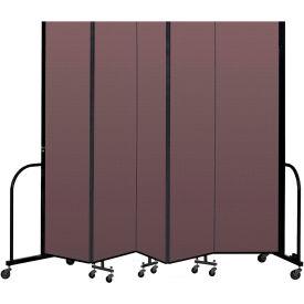 """Screenflex Portable Room Divider 5 Panel, 7'4""""H x 9'5""""L, Fabric Color: Mauve"""