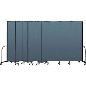 "Screenflex Portable Room Divider 9 Panel, 7'4""H x 16'9""L, Fabric Color: Blue"
