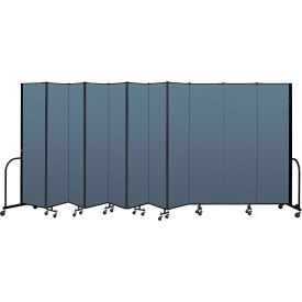 "Screenflex Portable Room Divider 11 Panel, 7'4""H x 20'5""L, Fabric Color: Blue"
