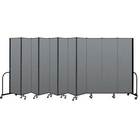 "Screenflex Portable Room Divider 11 Panel, 7'4""H x 20'5""L, Fabric Color: Gray"