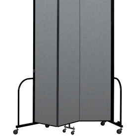 "Screenflex Portable Room Divider 3 Panel, 8'H x 5'9""L, Fabric Color: Gray"