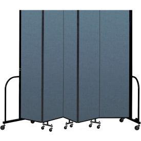 "Screenflex Portable Room Divider 5 Panel, 8'H x 9'5""L, Fabric Color: Blue"