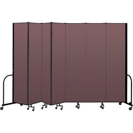 "Screenflex Portable Room Divider 7 Panel, 8'H x 13'1""L, Fabric Color: Mauve"