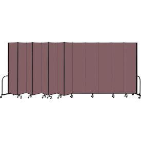"""Screenflex Portable Room Divider 13 Panel, 8'H x 24'1""""L, Fabric Color: Mauve"""