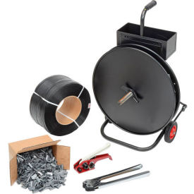 """Polypropylene Strapping Kit 1/2"""" x 9000' With Tensioner, Crimper, Seals & Cart"""