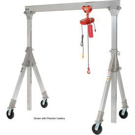 Vestil Aluminum Gantry Crane AHA-15-8-12-PNU Adj. Ht. Pneumatic Casters 1500 Lb.