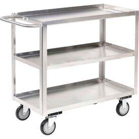 Stainless Steel Stock Cart 3 Shelves Flush Top Shelf 48x24