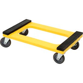 """Plastic Dolly with Rubber Padded Deck 5"""" Casters 1200 Lb. Capacity"""