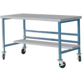 """Mobile 60"""" X 30"""" Plastic Top Workbench - Blue"""