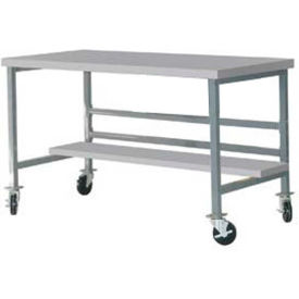"Mobile 72"" X 30"" Plastic Top Workbench - Gray"