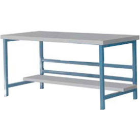 "Stationary 72"" X 36"" Plastic Laminate Square Edge Workbench - Blue"