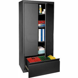 Sandusky System Series Storage Cabinet with File Drawer HADF301864 - 30x18x64, Black