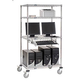 """Mobile Computer LAN Station 4-Shelf 36""""Wx24""""Dx69""""H with keyboard tray- Chrome"""