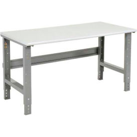"""72""""W X 36""""D ESD Safety Edge Top Work Bench - Adjustable Height - 1-1/4"""" Top - Gray"""