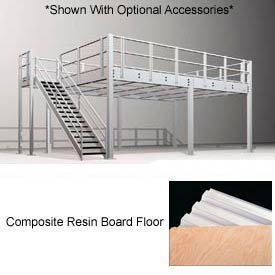 """10'H Pre-Engineered Mezzanine (24'W x 16'D) With Resin Board Over 1-1/2"""" Corrugated Steel Deck"""